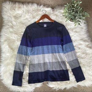 Patagonia Blue Striped Merino Wool Sweater